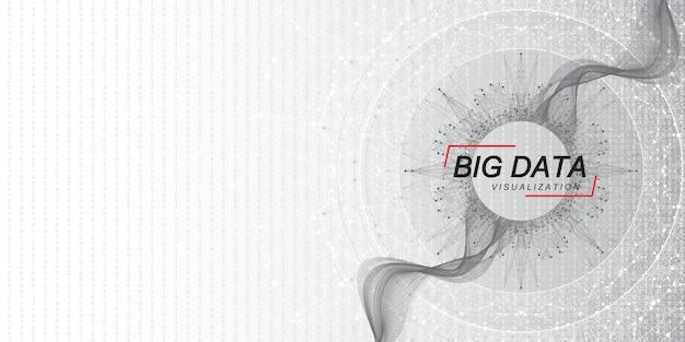 Visualisation des mégadonnées. algorithmes d'apprentissage automatique de big data. visualisation du tableau de données. grille fractale de points d'écoulement d'onde de complexité. analyse futuriste de l'infographie information. illustration vectorielle