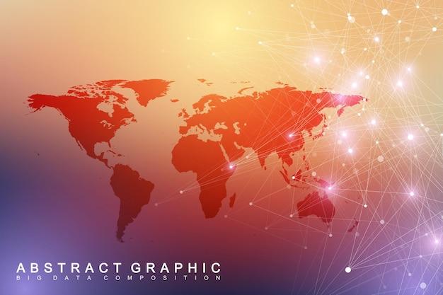Visualisation des mégadonnées avec une carte du monde. fond de vecteur abstrait avec des vagues dynamiques. connexion réseau mondiale. illustration abstraite de sens technologique.