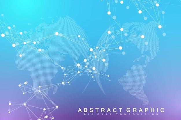 Visualisation des mégadonnées. complexité de l'information visuelle de fond abstrait géométrique. conception d'infographie futuriste. contexte technologique avec ligne et points connectés, écoulement des vagues. illustration vectorielle.