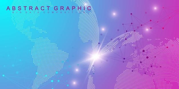 Visualisation des mégadonnées. molécule de fond graphique géométrique et communication. connexion réseau mondiale. lignes connectées avec des points. fond d'illustration chaotique minimalisme. illustration vectorielle.
