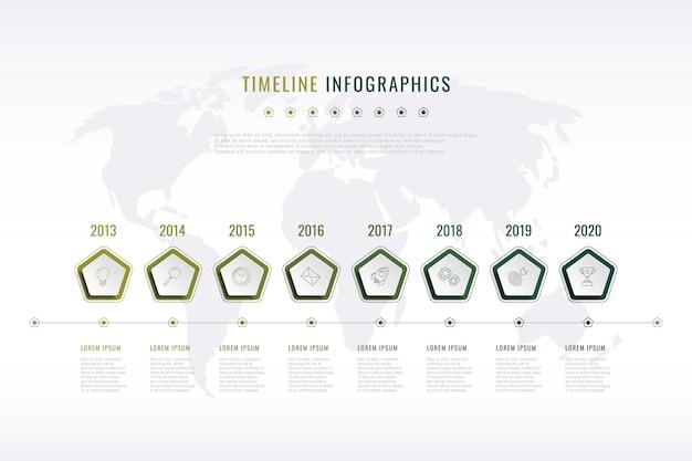 Visualisation moderne de l'histoire de l'entreprise avec des éléments pentagonaux