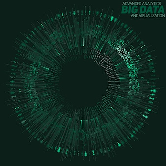 Visualisation verte circulaire big data. infographie futuriste. conception esthétique de l'information. complexité des données visuelles. visualisation graphique des fils de données complexes. réseau social. graphique de données abstrait
