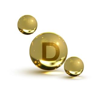Vitamine d, capsule jaune. bulle jaune, réaliste