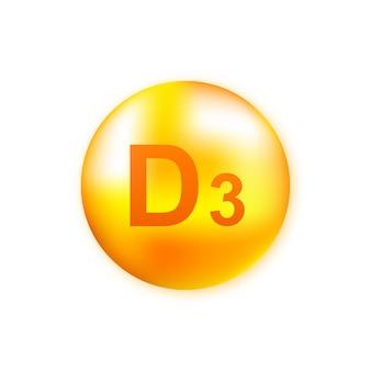 Vitamine d3 avec goutte réaliste sur gris