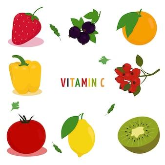 Vitamine c. illustration vectorielle avec une image de fruits et légumes contenant de la vitamine c