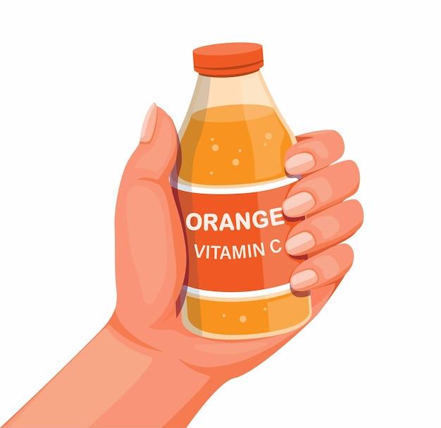Vitamine c orange boire de l'eau sur la main supplément et vecteur d'illustration de produit de boisson