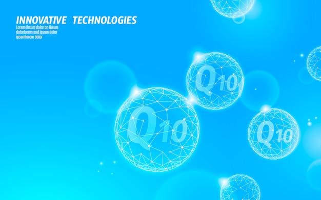 Vitamine q10 low poly sphère bleu ciel clair ensoleillé. complément de santé soin de la peau cosmétique anti-âge et complexe coenzyme q ubiquinone. illustration de modèle de bannière de science de médecine