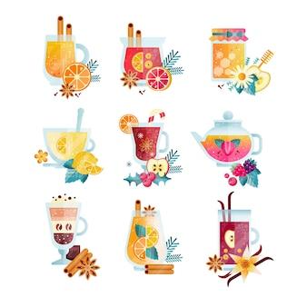 Vitamines boissons saines illustrations sur fond blanc