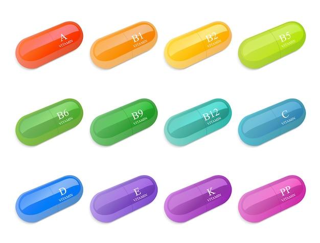 Vitamines dans un choix de types et de couleurs