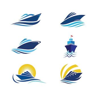 Vitesse de bateau de croisière template vecteur icône illustration design
