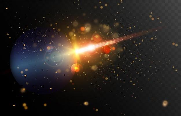 Vitesse de la lumière dans l'espace vecteur de fond lumières lumineuses dans le ciel nocturne illustration vectorielle
