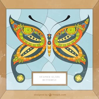 Vitrail avec un papillon