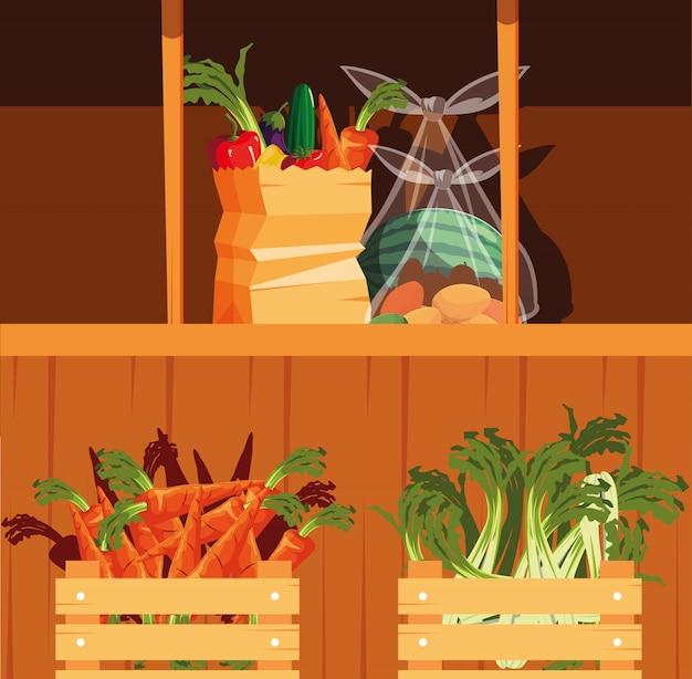 Vitrine en bois avec fruits et légumes