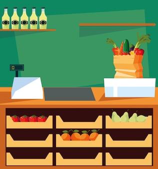 Vitrine de magasin avec des aliments frais et une caisse enregistreuse