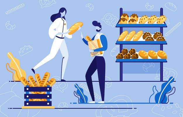 Vitrine de pain dans un supermarché ou une boutique, client.