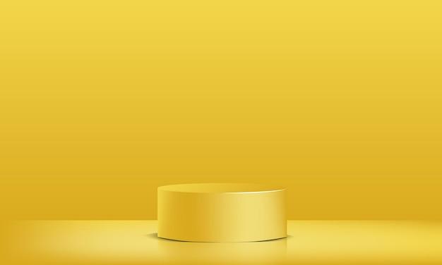 Vitrine de podium jaune vecteur 3d