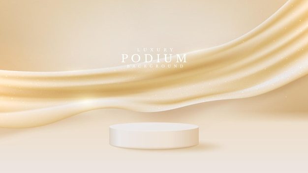 Vitrine de podium de produit blanc réaliste avec élément de toile dorée à l'arrière. concept de fond de luxe. illustration vectorielle pour la promotion des ventes et du marketing.