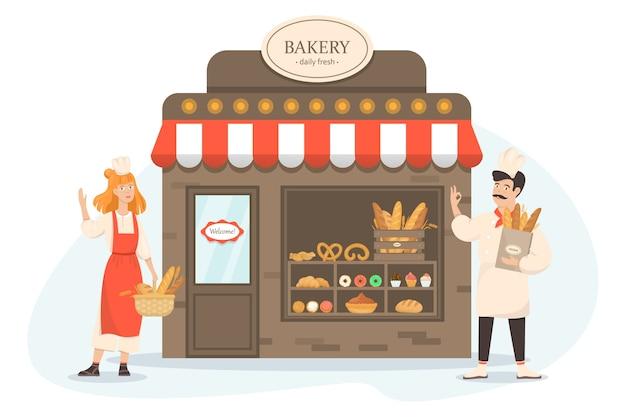 Vitrine avec des produits de boulangerie frais et savoureux. vendeur