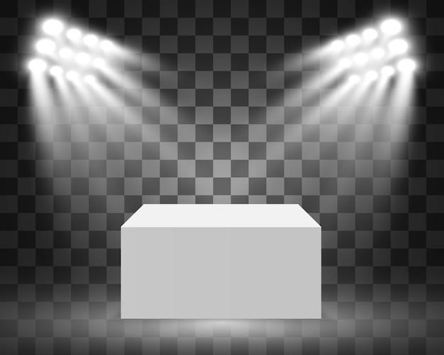Vitrine en verre pour l'exposition sous forme de cube. fond à vendre éclairé par des projecteurs. publicité de boîte de verre de musée ou boutique commerciale. salle d'exposition.