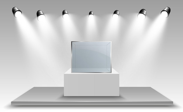Vitrine en verre pour l'exposition sous forme de cube fond à vendre illuminé