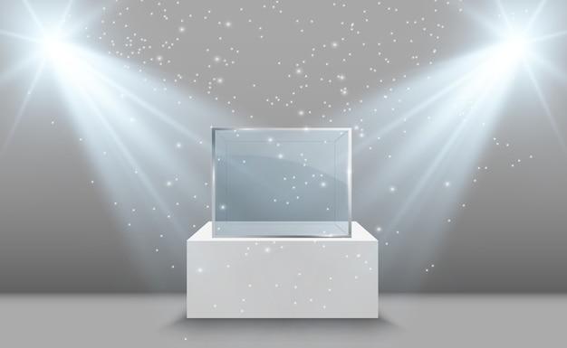 Vitrine en verre pour l'exposition sous forme de cube fond en vente éclairé par des projecteurs verre de musée