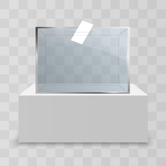 Vitrine en verre pour l'exposition sous forme de cube.