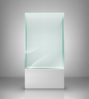 Vitrine en verre vide pour exposition. lieu d'exposition en verre pour présentation.