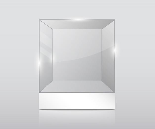 Vitrine de verre vide.