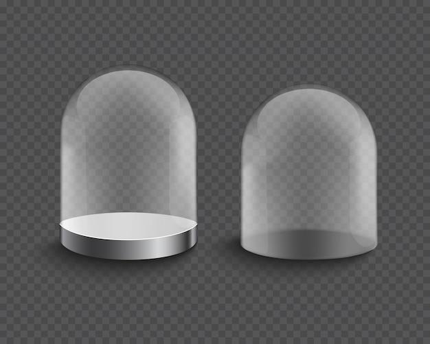 Vitrine vide de cylindre en verre transparent