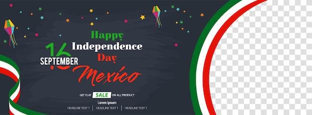 Viva mexico bannière de médias sociaux pour le jour de l'indépendance