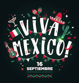 Viva mexico dessiné à la main