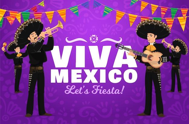 Viva mexico fiesta avec des personnages de dessins animés de mariachi.