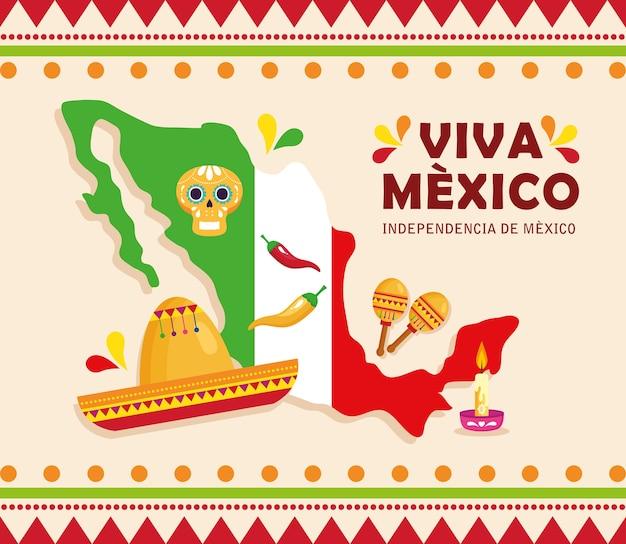 Viva mexico, joyeux jour de l'indépendance, 16 septembre et carte avec des décorations d'icônes traditionnelles.