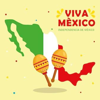 Viva mexico, joyeux jour de l'indépendance, 16 septembre avec carte et maracas.