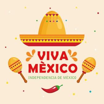 Viva mexico, joyeux jour de l'indépendance, 16 septembre avec chapeau, maracas et piment.