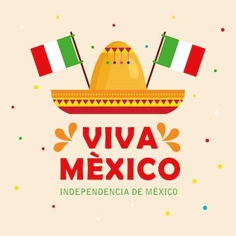 Viva mexico, joyeux jour de l'indépendance, 16 septembre avec décoration de chapeau et de drapeaux.