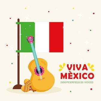 Viva mexico, joyeux jour de l'indépendance, 16 septembre avec drapeau, guitare et maracas.