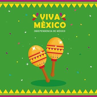 Viva mexico, joyeux jour de l'indépendance, 16 septembre avec maracas.