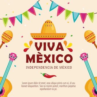 Viva mexico, joyeux jour de l'indépendance, chapeau du 16 septembre traditionnel et décoration.