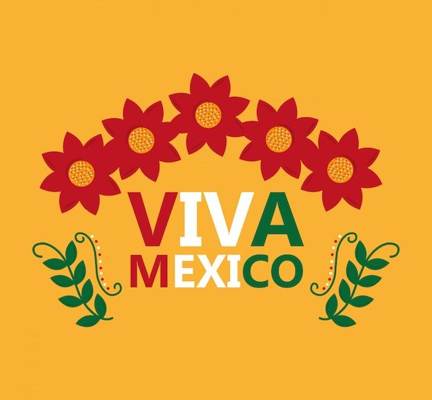 Viva mexico lettrage fleurs feuilles décoration célébration