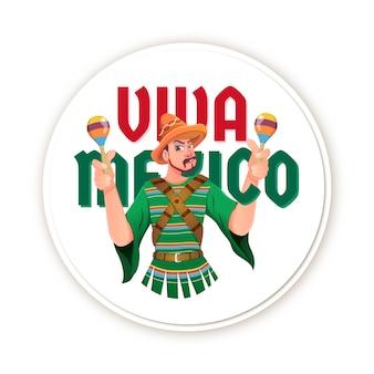 Viva mexico mascot festival indépendance du mexique