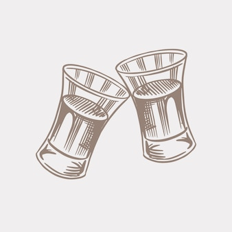 Vive le pain grillé. badge américain vintage de cognac ou d'alcool. étiquette alcoolisée pour bannière d'affiche. coups de verre avec boisson forte. lettrage de croquis gravé à la main pour t-shirt.