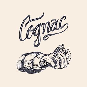 Vive le pain grillé. badge américain vintage de cognac ou d'alcool. tourné en main. étiquette alcoolisée pour bannière d'affiche. verre avec boisson forte. lettrage de croquis gravé dessiné pour t-shirt.