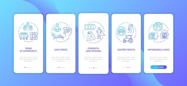 Vivre en banlieue en intégrant l'écran de la page de l'application mobile avec des concepts. instructions graphiques en 5 étapes sur les avantages du logement à la campagne. modèle vectoriel d'interface utilisateur avec illustrations en couleur rvb