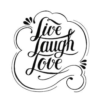 Vivre rire amour typographie design