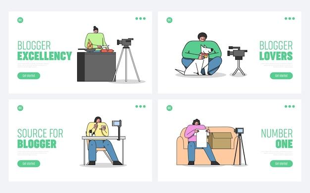 Vlogs landing pages définir la conception de dessin animé de modèle