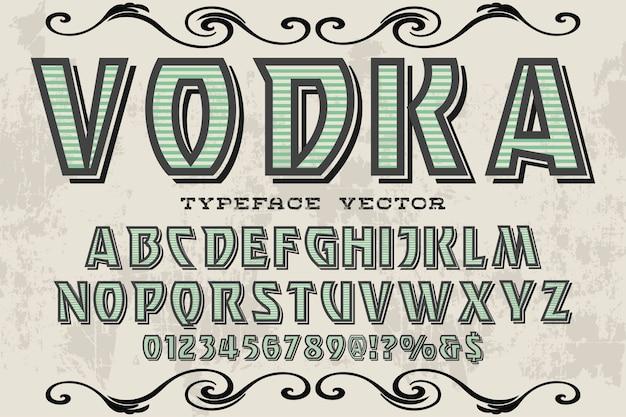 Vodka de style graphique alphabet