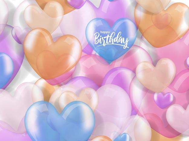 Voeux d'anniversaire avec ballon réaliste coeur 3d
