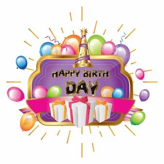 Voeux anniversaire élégant violet avec or