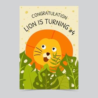 Voeux d'anniversaire de lion mignon